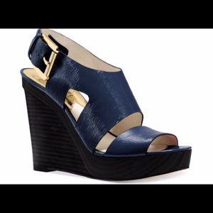 MICHAEL KORS Carla Platform Wedge Sandals in Navy